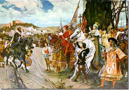 Capitulación de Granada, por Francisco Pradilla y Ortiz: Boabdil frente a Fernando e Isabel. 1882